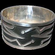 Mexican Modernist Wide Sterling Bracelet