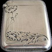 Sterling Art Nouveau Poppy Match Safe / Vesta