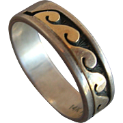 """Navajo """"Peggy Skeet"""" 14k Yellow Gold & 925 Sterling Band Ring - size 11"""
