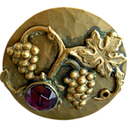 Victorian Grapes & Leaves Antique Amethyst Hatpin