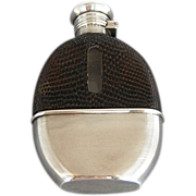 Whiting Sterling & Lizard Glass Whiskey Pocket Flask