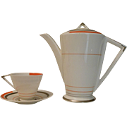 Shelley Eve Coffee Pot and Cup & Saucer -- Art Deco