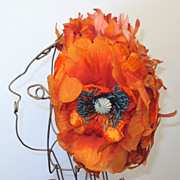 SALE 60's HAT Orange and Pink with a big poppy!
