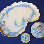 "SALE Limoges France Victorian Hand Painted Porcelain Dresser Set  ""Forget me Not"""