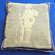 SALE WW1 crochet of Soldier on a silk covered pillow