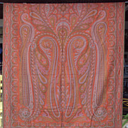 SALE Paisley Shawl, 1800's European Victorian, 60 by 128 inches
