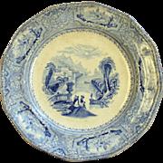 "SALE Staffordshire Plate, ""J. Wedgwood, Columbia"" circa. 8/23/1848 Blue Transferware"