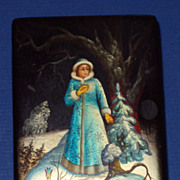 SALE Russian Lacquered Box, The Snow Maiden, hand painted, signed, paper mache