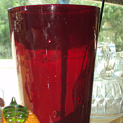 SALE Ruby Red Blown Glass Vase Victorian Antique