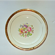 SALE Serving Bowl 9 in, 22kt gold rim floral, Stetson China USA