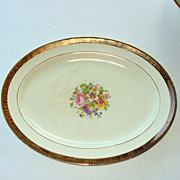 SALE 13.25 by10 inch Platter, 22kt gold rim and floral center, Stetson China, USA