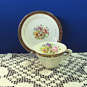 SALE TeaCup and Saucer Stetson China 22 kt Gold Rim with Floral Center