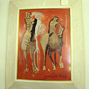 SALE Modern Art Marino Marini Lithograph 1949 Horse and Riders