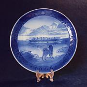 SALE 1968 Danish Christmas Plate, Royal Copenhagen, The Last Umiak