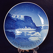 SALE 1953 Danish Christmas Plate, Bing and Grondahl, Royal Boat in Greenland Waters