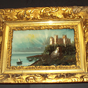 SALE Antique - Reverse Painting on the Glass Castle Sea Boats