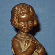 SALE Antique Bronze by Caroline Peddle Ball c. 1910 signed and dated