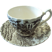 "English Staffordshire Cup and Saucer ""Royal Mail"" Transferware"