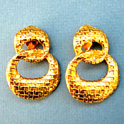 GIVENCHY, Basket Weave Gold Tone Entwined Circle Clip On Earrings