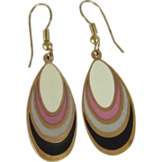 Enamel Tear Drop Dangle Gold Tone Earrings