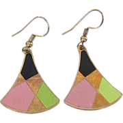 Vintage Gold Tone Enamel Earrings