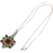 Lovely Multi Color Gem Stone Sterling Silver Necklace