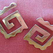 Bold Vintage Sterling Silver Pierced Earrings