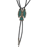 Vintage Native American Turquoise Sterling Bird Bolo