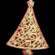 Vintage Christmas Tree Pin / Brooch
