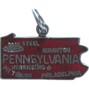 Vintage Sterling Silver Enamel State Charm-Pennsylvania