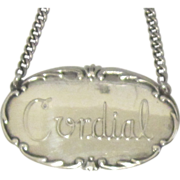 Sterling Silver Cordial Liquor, Bottle Label
