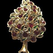 Vintage Gold Tone, Rhinestone, Enamel Christmas Tree Brooch