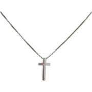 Sterling Silver Cross with Small Stone and Chain