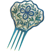 Vintage Art Deco Celluloid Blue and Green Hair Comb