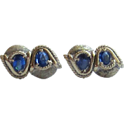 Handsome Pair of Gold Tone over Sterling Silver Cuff Links with brilliant Blue Glass Stone ...