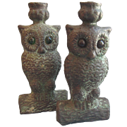 Vintage Pair of Bronze Owl Candle Holders