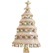 Vintage Gold Tone Enamel Christmas Tree Pin with Aurora Borealis Stones