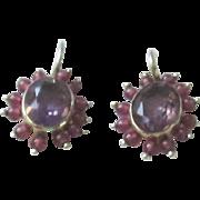 Beautiful Amethyst, Garnet, Vermeil Earrings