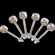 Vintage Six Demi Tasse Spoons 950 Sterling Silver -Lute