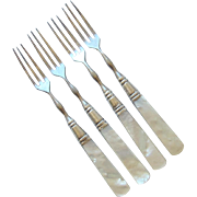 Victorian Sterling Silver Strawberry Forks - Mother of Pearl Handles