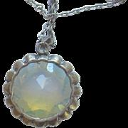 Vintage Sterling Silver Moonstone Pendant Necklace