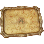 Pearlized Celluloid and Embroidered Vanity Tray