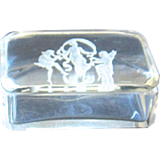 Etched Clear Glass Trinket Box-Dancing to Music Scene