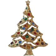 Vintage Gold Tone Christmas Tree Pin