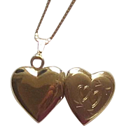 14K Yellow Gold Heart Locket, Chain Necklace