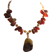 Polished Apricot Agates, Glass Beads , Amber Pendant Necklace