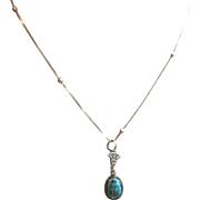 Egyptian Revival Faience Scarab Pendant Sterling Silver Chain Necklace