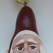 Hand Carved Vintage Ornament-Santa