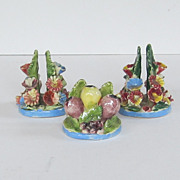 SALE Italian Vintage Three Pottery Place Card Holders