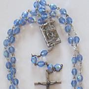 Vintage Blue Aurora Borealis Crystal Rosary Beads